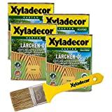 Xyladecor Lärchen-Öl, 3 l, helles Hartholz Plege- und Imprägnier Öl für Bangkirai, Eukalyptus, Eiche, Robinie und Zeder