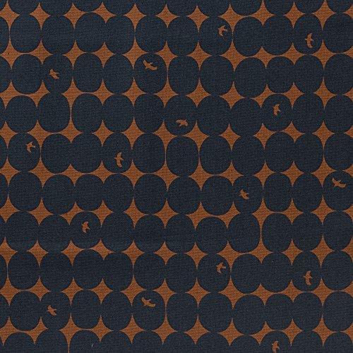 MIRABLAU DESIGN Stoffverkauf Baumwolle Canvas bedruckt mit Punkten und Vögeln in dunkelblau auf rostbraunem Grund (4-240M), 0,5m -