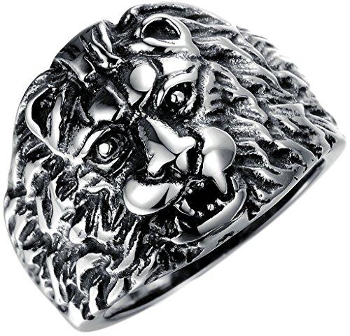 Gnzoe Schmuck, Edelstahl Hochzeit Ringe Übertreiben Löwen Kopf Schwarz Breit 5MM Gr.62(19.7) Für (Wolf Kostüme Waren)