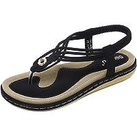 NUHEEL Ladies Sandals Summer Beach Flip Flops Women Bohemian Shoes Elastic T-Strap Flat Sandals Clip Toe Slingback Boho…