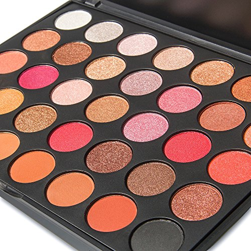 Makeup Glitter Eyeshadow Palette, Lover Bar 35 Warm Colour Nature Matte Shimmer Nude Earth Tone Professional Waterproof Smokey Eye Shadows Palette Beauty Cosmetics Professional 6pcs Make up Bruhses Set (35F)