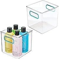mDesign boite de rangement en plastique avec poignées intégrées (lot de 2) – caisse de rangement transparente et élégant…