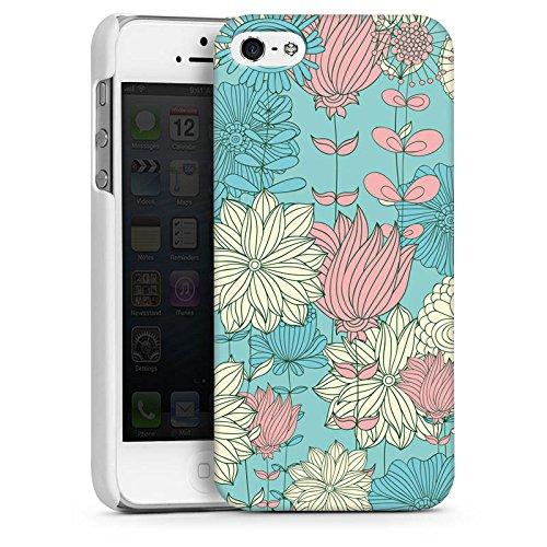 Apple iPhone 4 Housse Étui Silicone Coque Protection Fleurs Fleurs Motif CasDur blanc