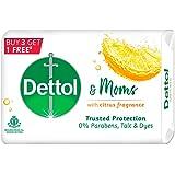 Dettol & Moms Bathing Soap Citrus, 75gm, Pack of 4