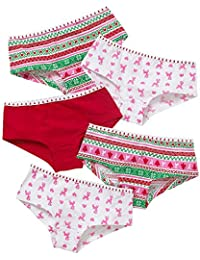 Just Essentials Girls Back To School 5 Pack Christmas Tree Reindeer  Snowflake hearts Hipster Briefs 1b0c8484c