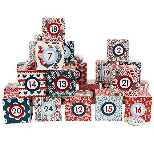 Papierdrachen DIY Adventskalender Kisten Set - Motiv Hygge - 24 Bunte Schachteln zum Aufstellen und zum Befüllen - 24 Boxen