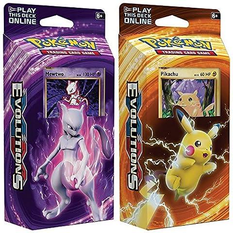 Pokemon Mewtwo & Pikachu XY Evolutions Jeu de cartes TCG - 60 cartes chacune