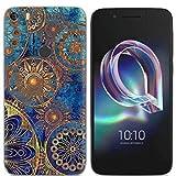 Yrlehoo Für Alcatel Idol 5, Premium Softe Silikon Schutzhülle für Alcatel Idol 5 Tasche Case Cover Hülle Etui Schutz Protect, Blaue Blumen