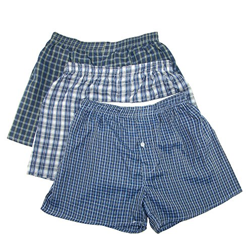 Madras Plaid Shorts (CTM Herren Boxershorts Madras Plaid 3 Stück Gr. M, Multi)