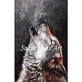 High Qualität handbemalt Moderner Style Abstrakt Tiere heulender Wolf Ölgemälde Wandschmuck Leinwand Home Wand feine Art Artwork, canvas, 24x36inch(60x90cm)