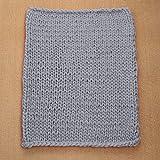 OHQ Chunky Gestrickte Decke Dickes Garn Merino Wolle sperrige Stricken Werfen 80x100cm (Grau, 80 x 100 cm)