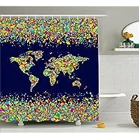 Abakuhaus Duschvorhang, Weltkarte Grob Organisiert Aus Mosaik Fliesen  Global Vielfaltige Farben Festlicher Druck, Wasser