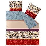 CelinaTex Touchme Megan Biber Bettwäsche 200 x 200 cm 3-teilig beige hell blau rot Flauschiger Bettbezug Ornament Motiv 5000059
