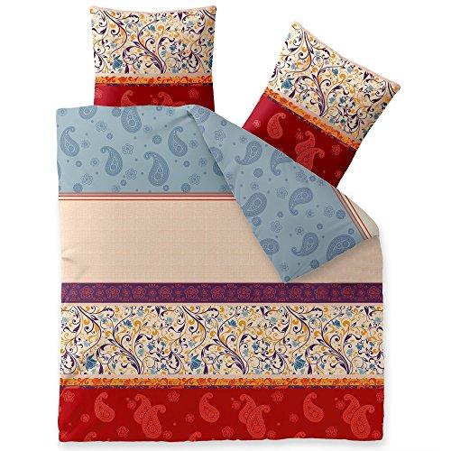 Flauschig weiche Winter-Bettwäsche | verschiedene Größen | Baumwolle Biber 200 x 220 cm | CelinaTex 5000069 | Touchme Megan | Ornament gemustert beige rot blau bunt