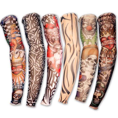 6 x Tattoo aermel Skin Arm Stulpe Sleeve Struempfe Tattoostulpe Kostuem fuer Kaneval (Kostüme Armee Männer)