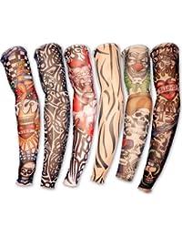 6 x Tattoo aermel Skin Arm Stulpe Sleeve Struempfe Tattoostulpe Kostuem fuer Kaneval Fasching