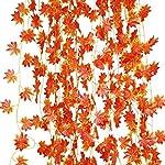 LJY, ghirlanda di foglie di vite e acero rosso artificiali, 12 pezzi, per feste nuziali, decorazioni per pareti e giardini o decorazioni natalizie