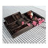 ZXQSJ Tablett Paulownia Tablett Massivholzschale Japanisches Holz-Retro-Set Teeservice Trockenobstteller für alle Familien