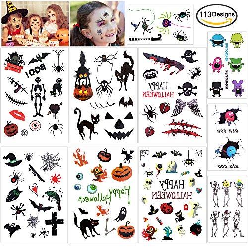 Howaf 113pcs Halloween temporäre Tattoo Kürbis Hexe Schädel Spinne gesicht Aufkleber für Kinder Jungen Mädchen deko Halloween Cosplay Zubehör Kindergeburtstag Mitgebsel (Kind Schädel Gesicht Kostüm)