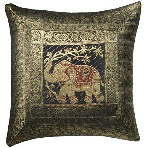 Indian Arts Fairtrade Indian Brokat Arbeit Elefanten Baumwollkissen Handloom, schwarz, 45 x 45 cm -
