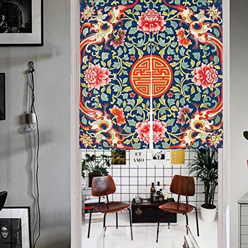 Mr Fantasy Noren japonés puerta cortina tapiz algodón lino mosquitera cortina antiguo chino patrón, tela, phoenix, 33*35in