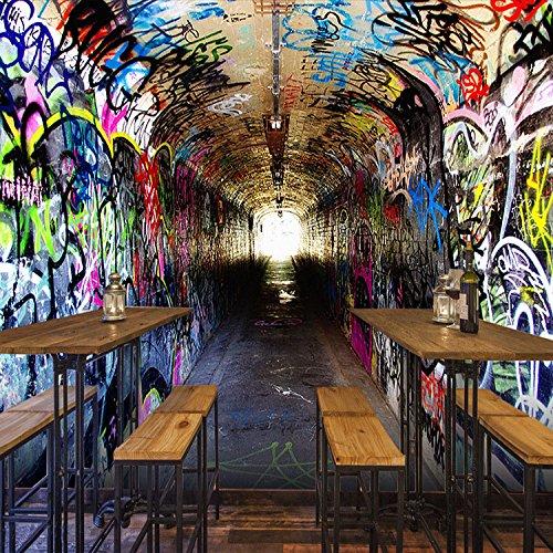 Retro Persönlichkeit Cafe Bar und Restaurant im Tunnel Weltraummüll Zement Stadt stilvoll klassische Tapeten, (Ganzzahl), Tuch Paket Installation, nur das Hintergrundbild