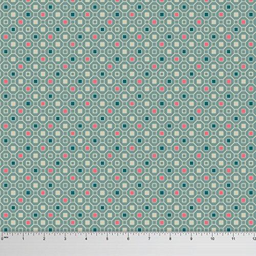 Soimoi 58 Zoll Breit Rayon Viscose 115 Gsm Gewebe Geometrischer Druck Craft Stoff Durch Die Messgerät - Salbei Grün (Salbei Bluse,)