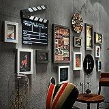 Retro Foto wand Kreative wohnzimmer Uhr Bilderrahmen wand Multi Bild Bilderrahmen kombination ( Farbe : A )
