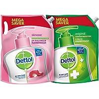 Dettol pH-Balanced Skincare Liquid Handwash Refill Super Saver Pack, 1500ml & Dettol Liquid Hand wash Refill Original…