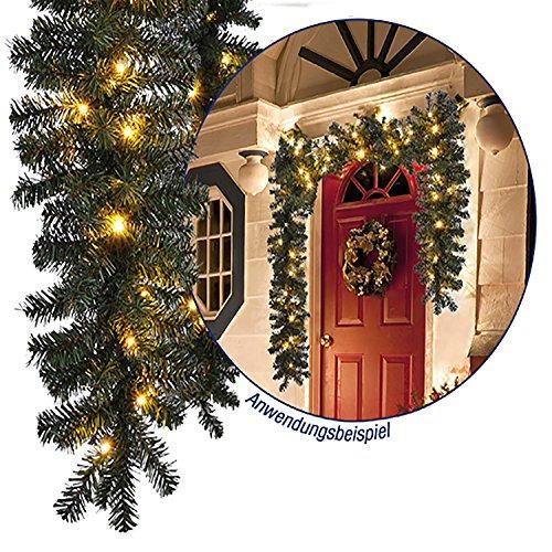 Tolle Weihnachtsbeleuchtung Girlande beleuchtet Tannengirlande 40 LED Lichterkette 270 cm Weihnachten außen