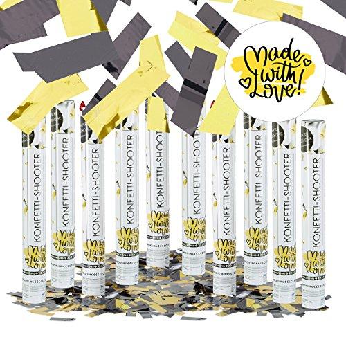 10er Set Party Popper 40 cm Schwarz-Gelb, bis 8m Effekthöhe, Fußball-Fan Artikel, Karneval, Konfettiregen, schwarz-gelb (7 Metall-wand)