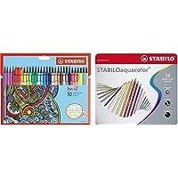 Stabilo Pennarello Premium Pen 68 Astuccio In Cartone Da 30 Colori Assortiti & Matita Colorata Acquarellabile Aquacolor…