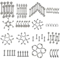 Adeeing Mixed Stainless Steel Body Piercing Jewelry Tongue lip Eyebrow Nose Stud Belly Ring 85pcs/Set