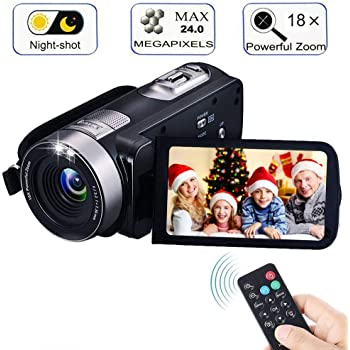 "Digital Camcorder with IR Night Vision, iBacakys Portable Mini Handheld Video Camera 24.0 Mega Pixels DV 3"" LCD Screen 18X Digital Zoom ((Two Batteries Included)"