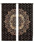 janki creation Schwarz-Weiß-Gold-Mandala-Wand, Mandala-Gardinen mit 82Länge 2Stück Set Vorhänge, Boho-Vorhänge, Gobelin Drapes Vorhänge Mandala-Motiv, zum Aufhängen, indische Mandala -