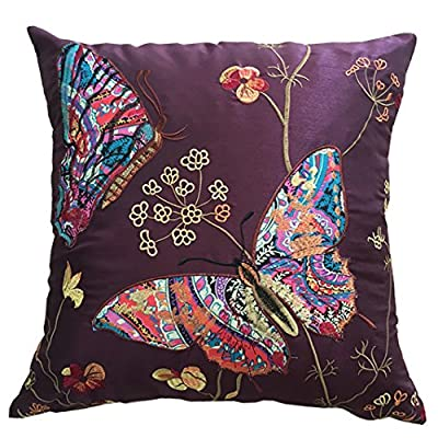 "Embroidered Butterfly Cushion Covers Decorative PillowCase18"" x 18"" - inexpensive UK light shop."
