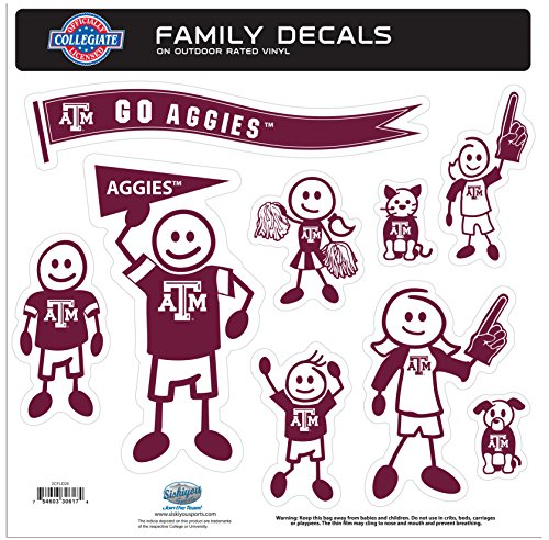 NCAA Texas A&M Aggies Family Character Decals, Large