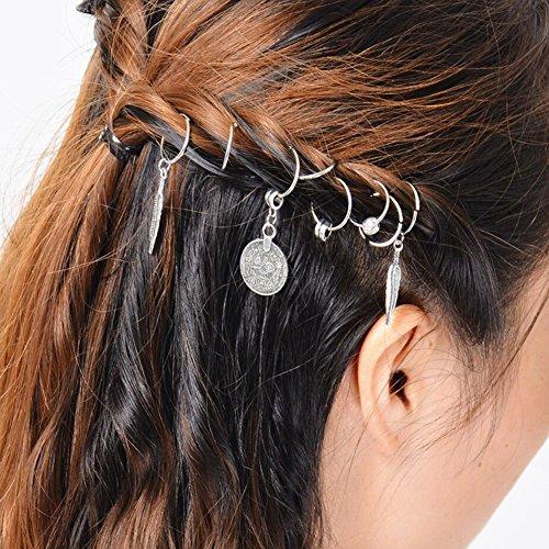 1Pack Afrika Pigtail Frauen Haarspange Haar Clip Braid Medaille Feder Perlen DIY Schlaufen