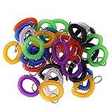 Lot de 35couleurs assorties extensible Plastique Coil Bracelet à bracelet Porte-clés support Tag (35pcs-7Couleurs mélangées)