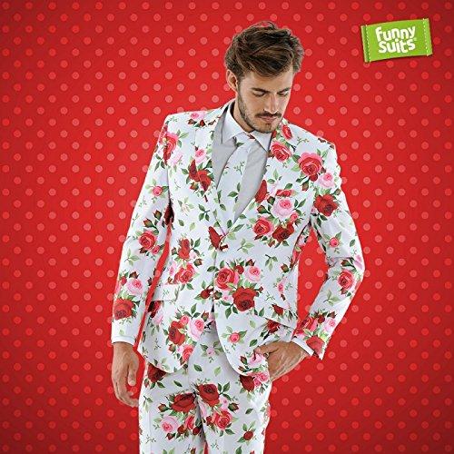 Comedy Kostüm Strauß - Funnysuits Rosenanzug Senator Armin Anzug Blumenmuster 3-Teiliges Kostüm Deluxe EU Size 56