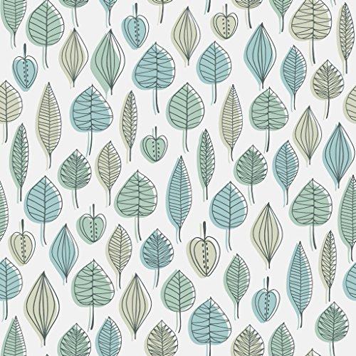 Blätter Blau-tapeten (Reflections 5924 Vlies-Tapete 50er Retro-Motiv Blätter und Früchte in schwarzgrau, blau und grün auf mattweiß)