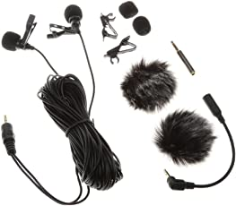 Segolike 6 m / 19.68ft Dual-head Lavalier Microphone Professional Lapel Collar Mic