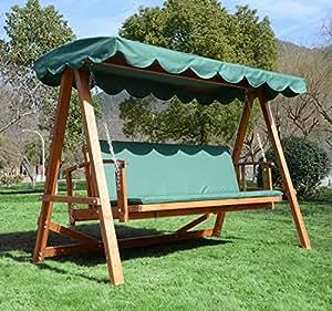 Homcom balancelle de jardin en bois 3 places bois certifi - Columpio madera jardin ...