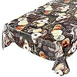 Mantel de hule, lavable, con diseño de café, donuts y croissants, de forma redonda, 100cm, toalla, marrón, 100 x 140cm