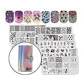 Beautybigbang 8er Nagel Stamping Schablonen Platte Set + Holo Aufbewahrungsmappe - Einhorn/Katze/Lace/Blume Muster