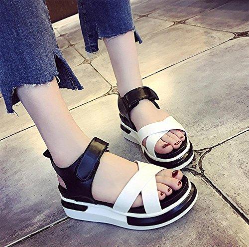 Sommer wilder Hang mit dicker Kruste Fischköpfen flachen Sandalen weibliche  Schuhe Student Black ...