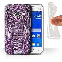 Coque Gel TPU de Stuff4 / Coque pour Samsung Galaxy Trend 2 Lite/G318 / éléphant-Pourpre Design / Motif Animaux Aztec Collection
