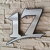 Edelstahl Hausnummer gebürstet rostfrei ( 2-stellig / 17cm Ziffernhöhe )- mit Plexiglas Hintergrund in Anthrazit-grau, Schwarz oder Weiss, 7mm stark - Original ALEZZIO Design - Rostfrei, UV-beständig, Anthrazitgrau ähnlich RAL 7016 mit Edelstahlhausnummer kombiniert - leichte Montage, alle Ziffern und Buchstaben möglich von 1-999, a b c d e f