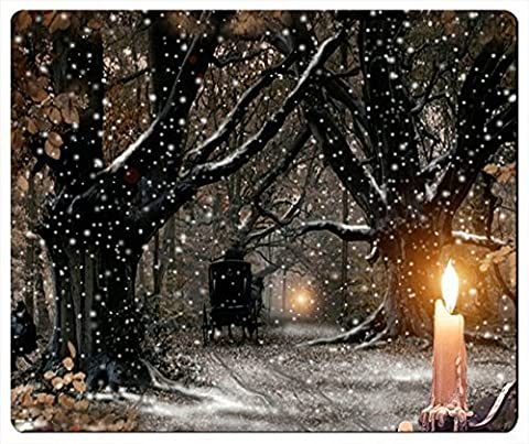 Generic Christmas Winter Snow Tree Road Carriage Candle Night Scene