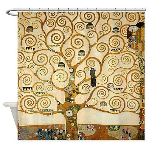 Dreamhome Klimt Albero della Vita di la Tenda per Doccia in Tessuto Decorativo Tenda della Doccia (182,9x 182,9cm)